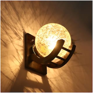 Somil Globe Shape Wood And Glass Wall Lamp, Compatible 5 To 80 Watt, B22 Holder ( Set Of 1)