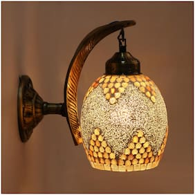 Somil Wall Lamp;Light With Leaf Design Metal Wall Fitting & Hand Decorative Glass Shade