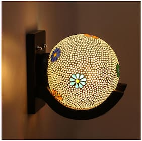 Somil Colorful Globe Shape Wood And Glass Wall Lamp, Compatible 5 To 80 Watt, B22 Holder ( Set Of 1)