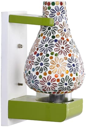 Somil Wall Lamp Light With Designer Wood Fitting And Decorative Colorful Glass Shade