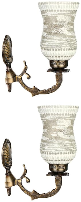 Somil White Sconce Wall Lamp Ornamented With Beads Set Of 2