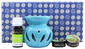 Soulflower Round Candle Diffuser Blue - Lemongrass