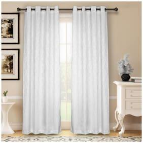 Soumya Premium Dupion Silk White Eyelet Curtain