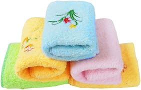 Space Fly Attractive Flowers Embroidery, Girls & Women Good Look Cotton & Very Soft Hanky, Face Towels, Handkerchiefs, 5 pcs (Size : 26CM X 26CM Inch_Multi)