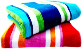 Space Fly Attractive Fine Soft & Cotton  Light Weight, Striped, Big Size 2 Bath Towels (58X28 Inch_ Multi Color)