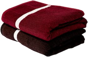 SPACE FLY 400 GSM Cotton Bath towel ( 2 pieces , Brown & Maroon )