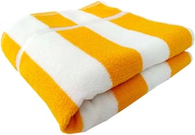 SPACE FLY 400 GSM Cotton Bath towel ( 1 piece , Yellow )