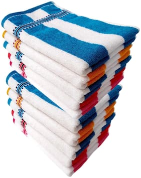 Space Fly Cotton Cabana Striped Hand Towels High Absrobent, Set of 10 (13 inch X 18 inch_Multi Color)