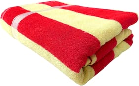 Space Fly Cotton Super Absorbent Towels Big Size Bath Towels (28X57 inch_Red & Yellow Cream_Cabana Striped)