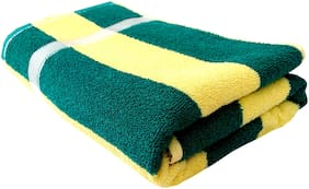 Space Fly Cotton Super Absorbent Towels Big Size Bath Towels (28X57 inch_Green & Yellow Cream_Cabana Striped)