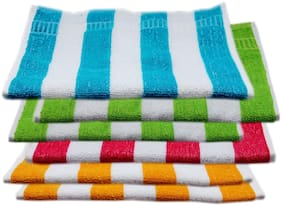 Space Fly High Absrobent Cabana Striped Hand Towels (Size- 10X16 inch_Set of 6_ Multi Color)