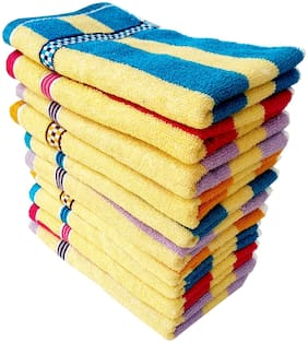 SPACE FLY 300 GSM Cotton Hand Towel ( 10 Pieces , Multi )