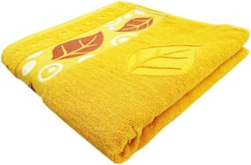 SPACE FLY 450 GSM Cotton Bath towel ( 1 piece , Yellow )