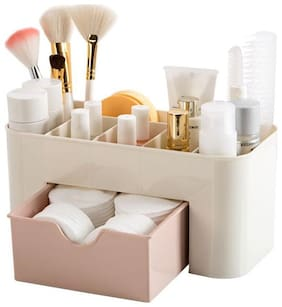 Space Saving Plastic Office Supplies Desk Organizers, Pen Holder / Cell Phone Holder / Cosmetic Holder with a Drawer / Plastic Cosmetic Storage Box