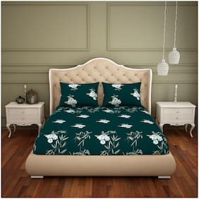 Spaces Cotton Floral King Bedsheet ( 1 Bedsheet with 2 Pillow Covers , Green & White )