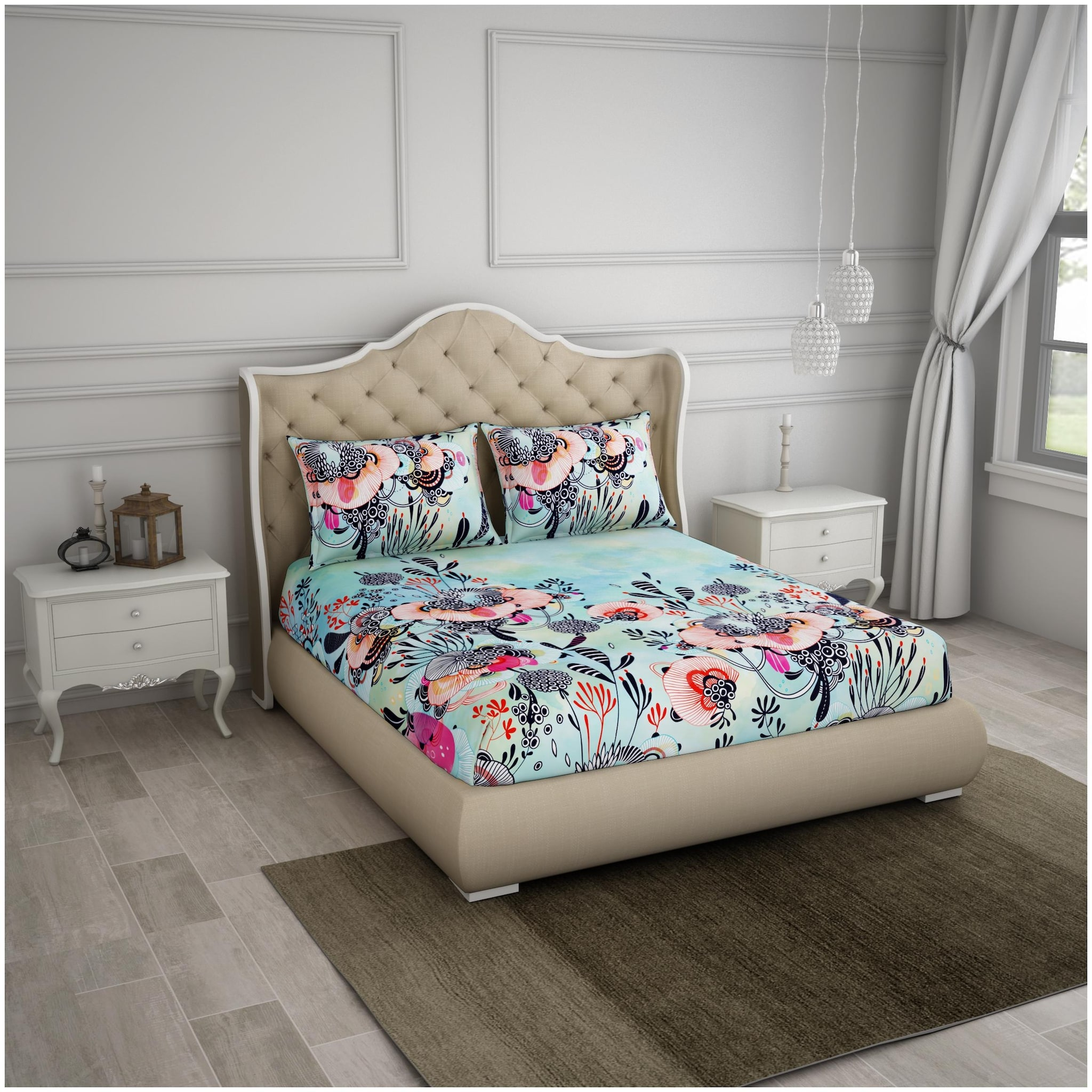 Spaces 1 Large Bed Sheet With 2 Pillow Covers