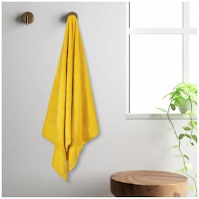 Spaces 450 gsm GSM Cotton Bath towel ( 1 piece , Yellow )