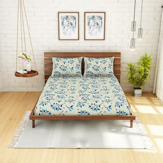 Spaces Cotton Floral Double Size Bedsheet 104 TC ( 1 Bedsheet With 2 Pillow Covers , Blue )