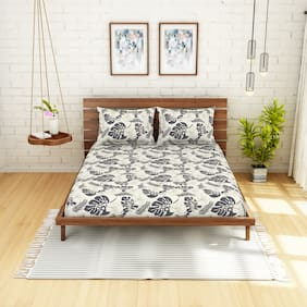Spaces Cotton Floral Double Size Bedsheet 104 TC ( 1 Bedsheet With 2 Pillow Covers , Grey )