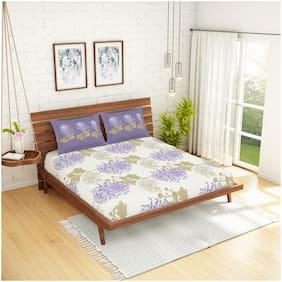 Spaces Cotton Floral King Size Bedsheet 144 TC ( 1 Bedsheet With 2 Pillow Covers , Purple )