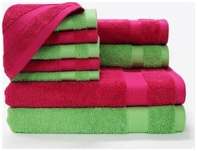 SPACES Atrium Rough Red and Green Flash 10 pcs Towel Set