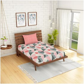 Spaces Cotton Geometric Single Size Bedsheet 144 TC ( 1 Bedsheet With 1 Pillow Covers , Orange )