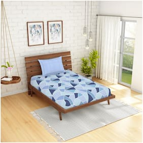 Spaces Cotton Geometric Single Size Bedsheet 144 TC ( 1 Bedsheet With 1 Pillow Covers , Blue )