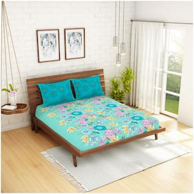 Spaces Cotton Floral Double Size Bedsheet 210 TC ( 1 Bedsheet With 2 Pillow Covers , Blue )