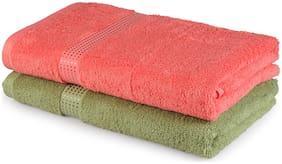 Spaces Atrium Green And Peach 2 Pcs Bath Towels