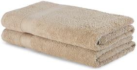 Spaces 480 GSM GSM Cotton Bath Towel ( 2 Pieces , Beige )
