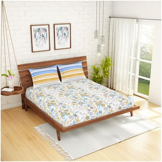 Spaces Cotton Floral King Size Bedsheet 144 TC ( 1 Bedsheet With 2 Pillow Covers , Multi )