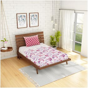 Spaces Cotton Floral Single Size Bedsheet 144 TC ( 1 Bedsheet With 1 Pillow Covers , Pink )