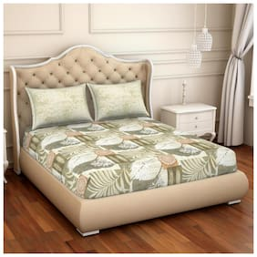 Spaces Cotton Floral Double Size Bedsheet 144 TC ( 1 Bedsheet With 2 Pillow Covers , Beige & White )