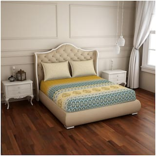 Spaces Cotton Printed Double Size Bedsheet 210 TC ( 1 Bedsheet With 2 Pillow Covers , Yellow & Blue )