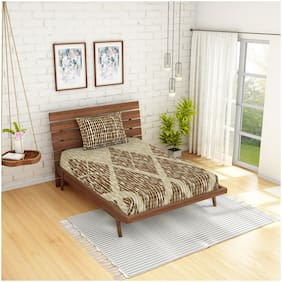 Spaces Cotton Geometric Single Size Bedsheet 210 TC ( 1 Bedsheet With 1 Pillow Covers , Brown )