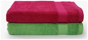 SPACES Atrium Rough Red  and  Green Flash 2 Pcs  Bath Towel