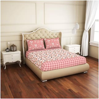 Spaces Cotton Floral King Size Bedsheet 144 TC ( 1 Bedsheet With 2 Pillow Covers , Pink )
