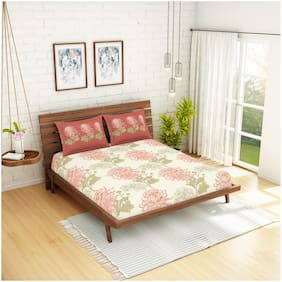 Spaces Cotton Floral Double Size Bedsheet 144 TC ( 1 Bedsheet With 2 Pillow Covers , Orange )