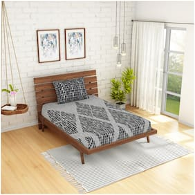 Spaces Cotton Geometric Single Size Bedsheet 210 TC ( 1 Bedsheet With 1 Pillow Covers , Grey )