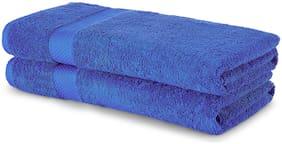 Spaces 480 GSM GSM Cotton Bath Towel ( 2 Pieces , Blue )