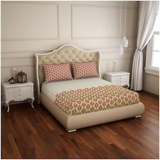 Spaces Cotton Floral Double Size Bedsheet 210 TC ( 1 Bedsheet With 2 Pillow Covers , Beige & Red )