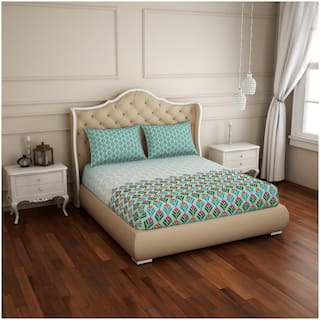 Spaces Cotton Abstract Double Size Bedsheet 210 TC ( 1 Bedsheet With 2 Pillow Covers , Turquoise & Green )