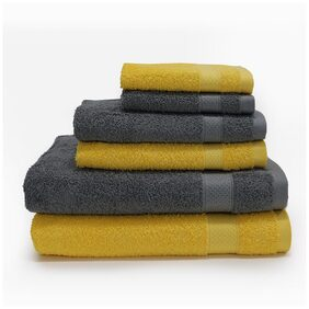 SPACES Atrium Mustard Yellow and Grey Towel (Set of 6)