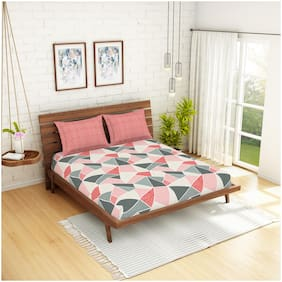 Spaces Cotton Geometric Double Size Bedsheet 144 TC ( 1 Bedsheet With 2 Pillow Covers , Orange )