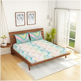 Spaces Cotton Geometric King Size Bedsheet 144 TC ( 1 Bedsheet With 2 Pillow Covers , Green )