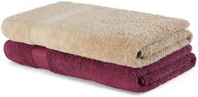 Spaces Atrium Beige And Purple 2 Pcs Bath Towels