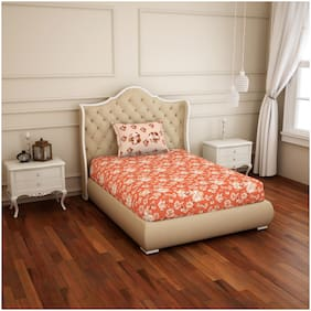 Spaces 144 TC Floral Flat Single Bedsheet ( Orange , Pack of 2 )