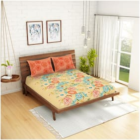 Spaces Cotton Floral Double Size Bedsheet 210 TC ( 1 Bedsheet With 2 Pillow Covers , Beige )