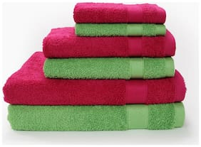 SPACES Atrium Rough Red and Green Flash Towel (Set of 6)