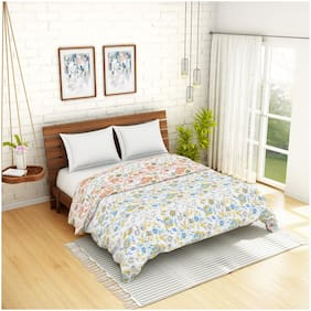 Spaces Atrium Floral Blue 1 Double Quilt